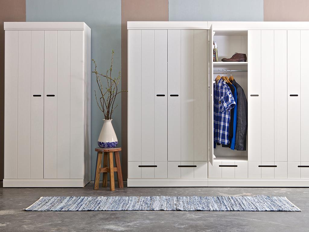 2 deurs kledingkast met lades wit
