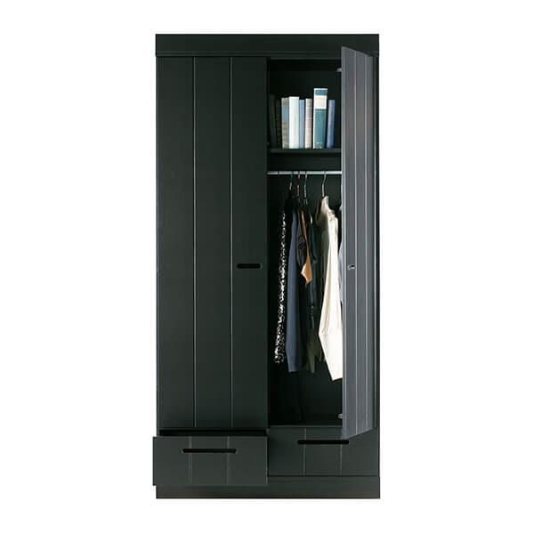 livengo 2 deurs kledingkast met lades - zwart